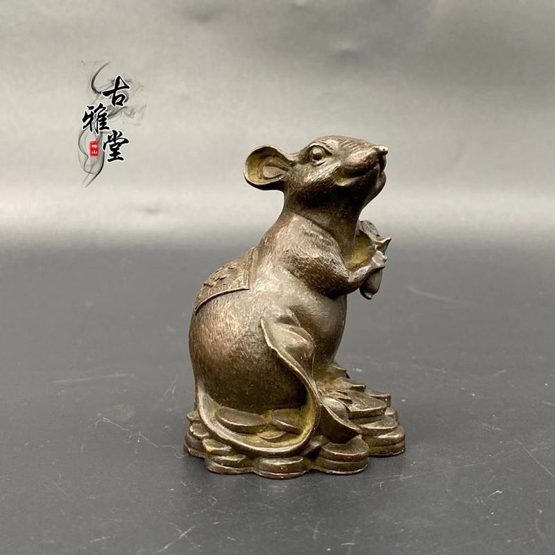 古玩擺件十二生肖老鼠小擺件招財鼠福鼠報喜桌面擺件小老鼠金錢鼠1入