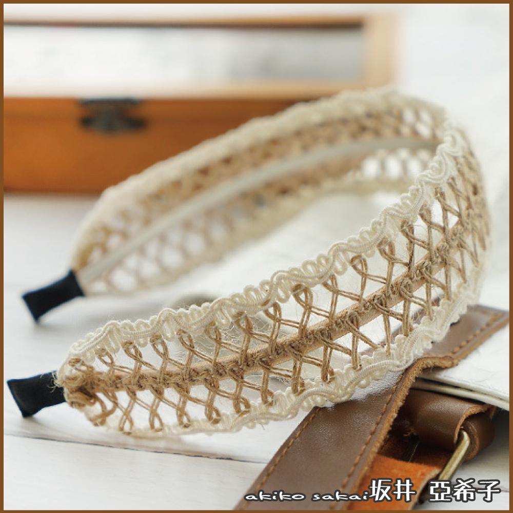 『坂井.亞希子』文藝典雅少女棉麻鏤空蕾絲造型髮箍
