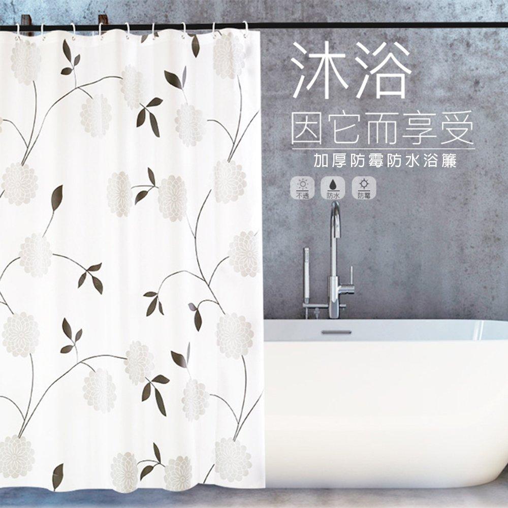 【APEX】時尚加厚型防水浴簾(黑白花團)