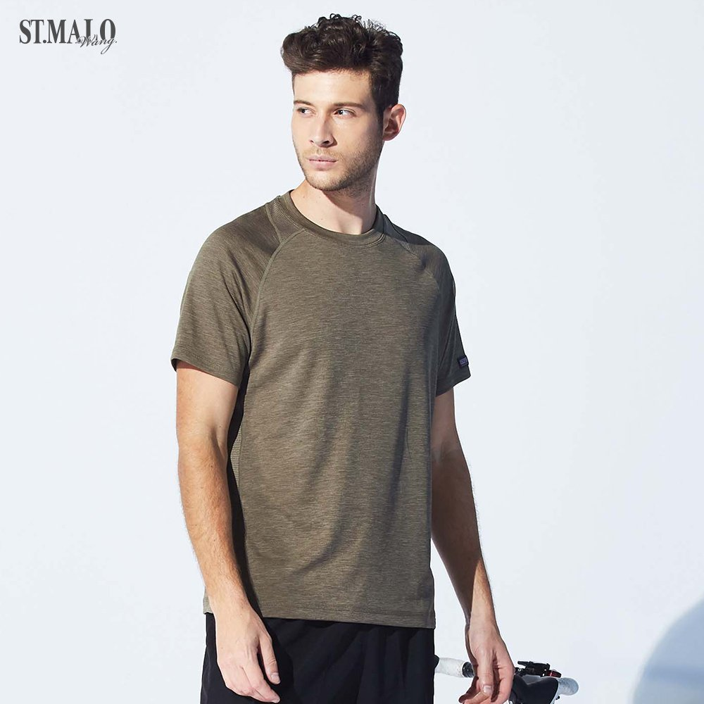 【ST.MALO】台灣製速乾除臭咖啡紗男T恤-1955MT-棕綠色