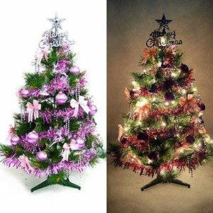 台灣製3尺(90cm)特級綠松針葉聖誕樹 (銀紫色系配件)+100燈鎢絲樹燈一串