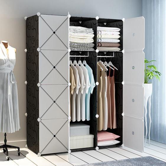 衣櫃簡易組裝現代簡約出租房臥室家用掛收納柜子塑料儲物柜布衣櫥全館促銷限時折扣