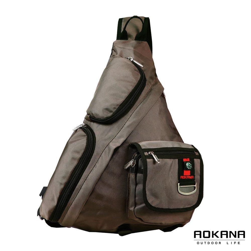 AOKANA奧卡納 輕量防潑水護脊紓壓機能單肩背包(卡其綠)68-077