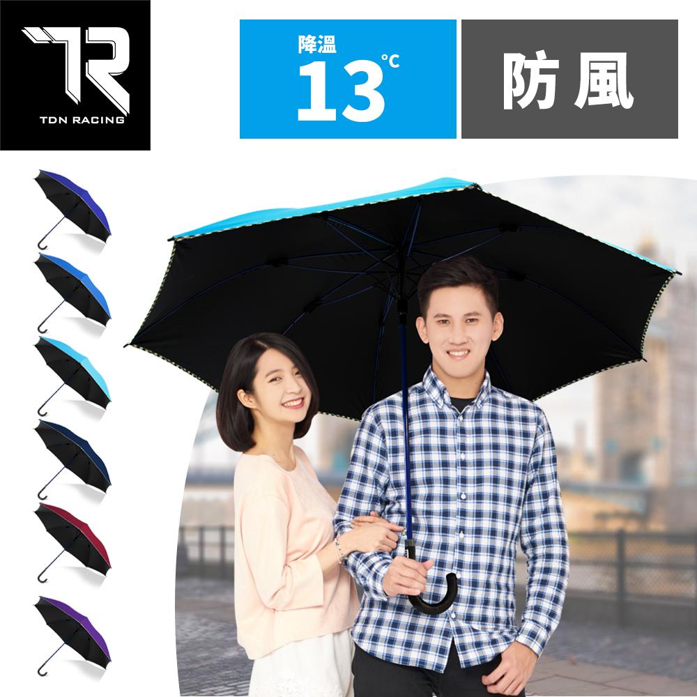 【TDN】公爵冷酷傘 超大傘面黑膠自動直立傘 超撥水.防雷擊.抗UV.玻纖.防風.降溫A7594