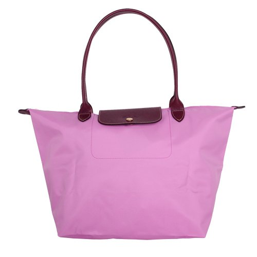 LONGCHAMP長提把大型折疊水餃包(粉紅色/L) (305007-84)