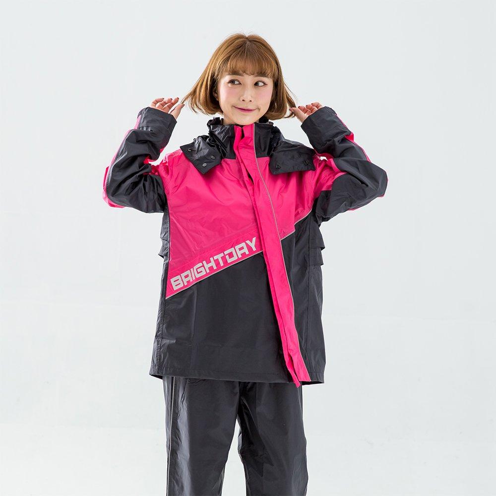 BrightDay-X武士斜開兩件式雨衣-桃