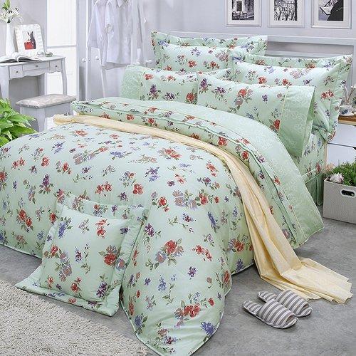【FITNESS】精梳棉特大七件式床罩組-穠芳(綠)