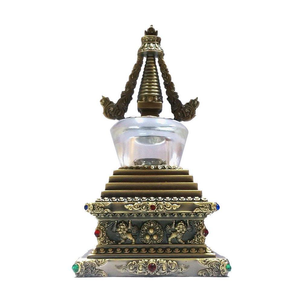 【十相自在】20公分 可裝藏精雕佛塔-銅色琉璃(菩提塔)