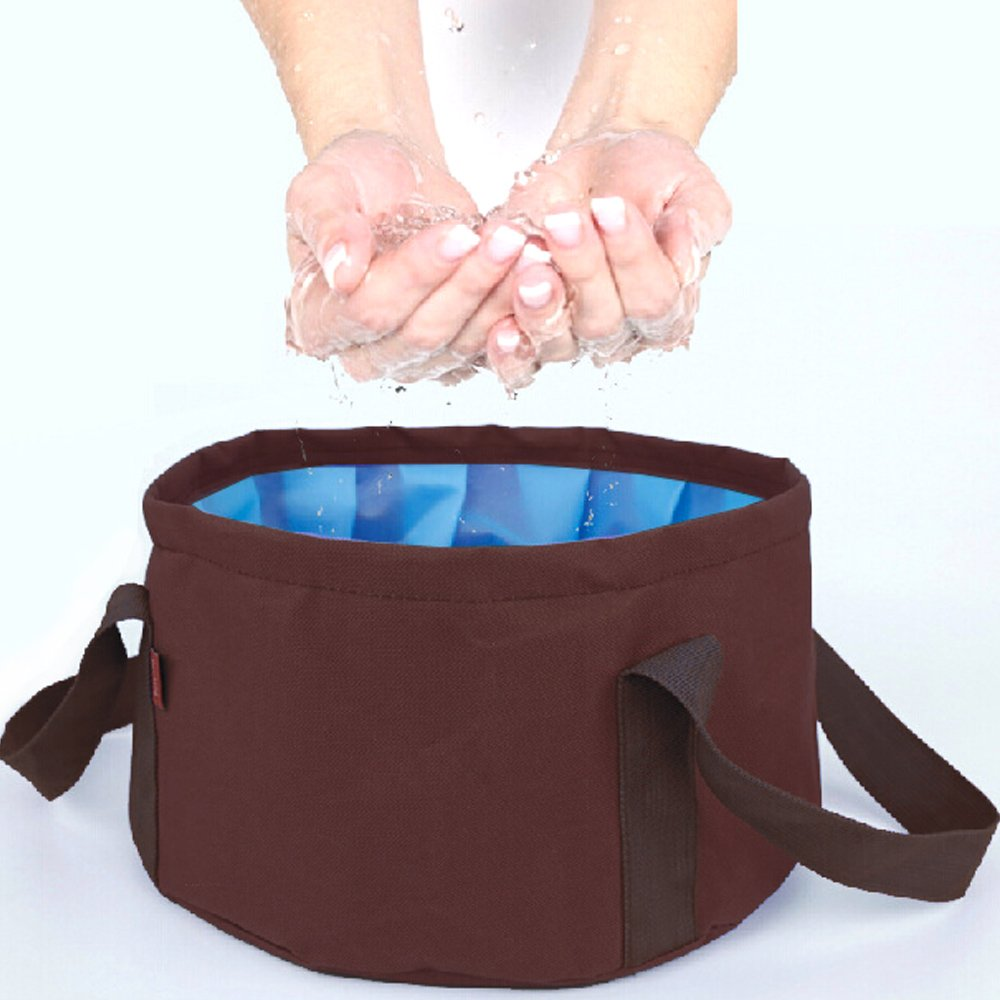 DF Queenin - 露營野餐必備大容量折疊式水盆-咖色