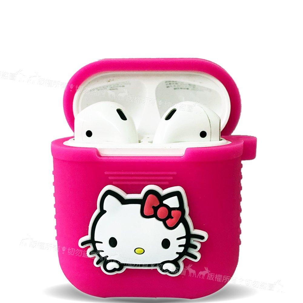 三麗鷗授權 Hello Kitty 蘋果Apple Airpods  藍芽耳機盒保護套 1/2代通用款(凱蒂桃)
