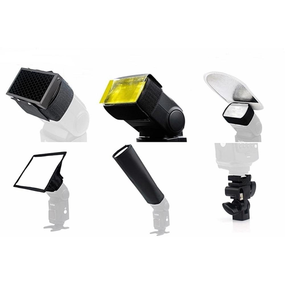 神牛六合一外閃配件組SA-K6(含蜂巢罩.束光罩.柔光罩.反光板.濾色片.B型冷靴托架)生態攝影