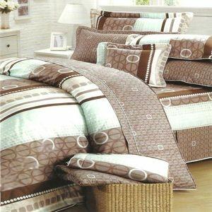 【甜蜜圈圈】台灣製造[5.0x6.2呎]四件式雙人(100%高級純棉)鋪棉兩用被套床包組-咖啡白
