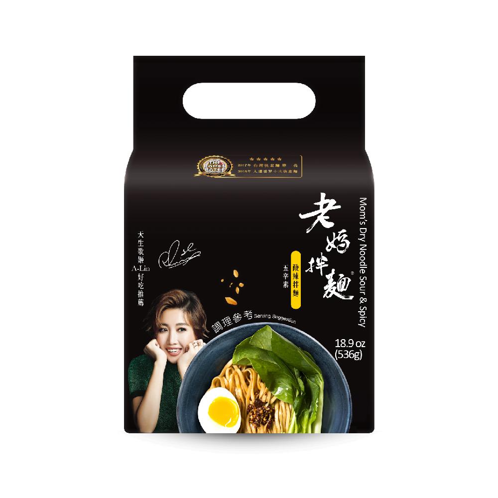 任選【老媽拌麵】酸辣口味 1袋4包 五辛素