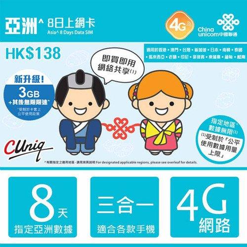 亞洲 14國 8日 4G網速 無限上網吃到飽 上網卡