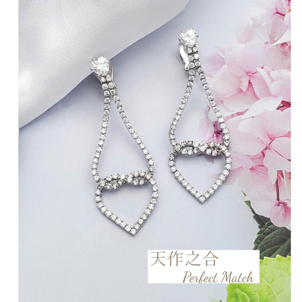 韓版晶鑽細緻-滿鑽愛心 夾式 耳環