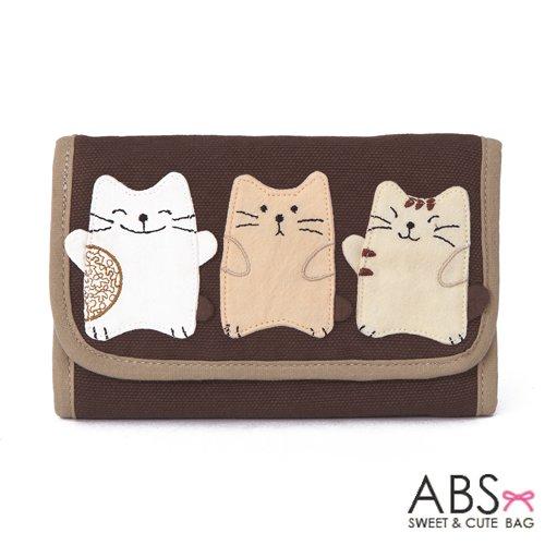 ABS貝斯貓 可愛貓咪手工拼布皮夾證件包 (咖啡) 88-004