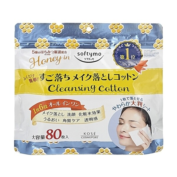 kose~softymo蜂蜜精華卸妝棉(80枚入)卸妝/卸妝棉/臉部清潔