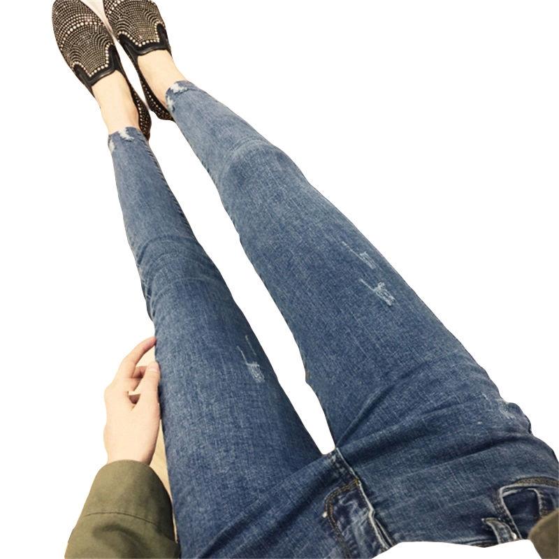 【現貨】韓版復古風破洞百搭牛仔褲女士窄管褲鉛筆褲子合身彈力高腰九分褲
