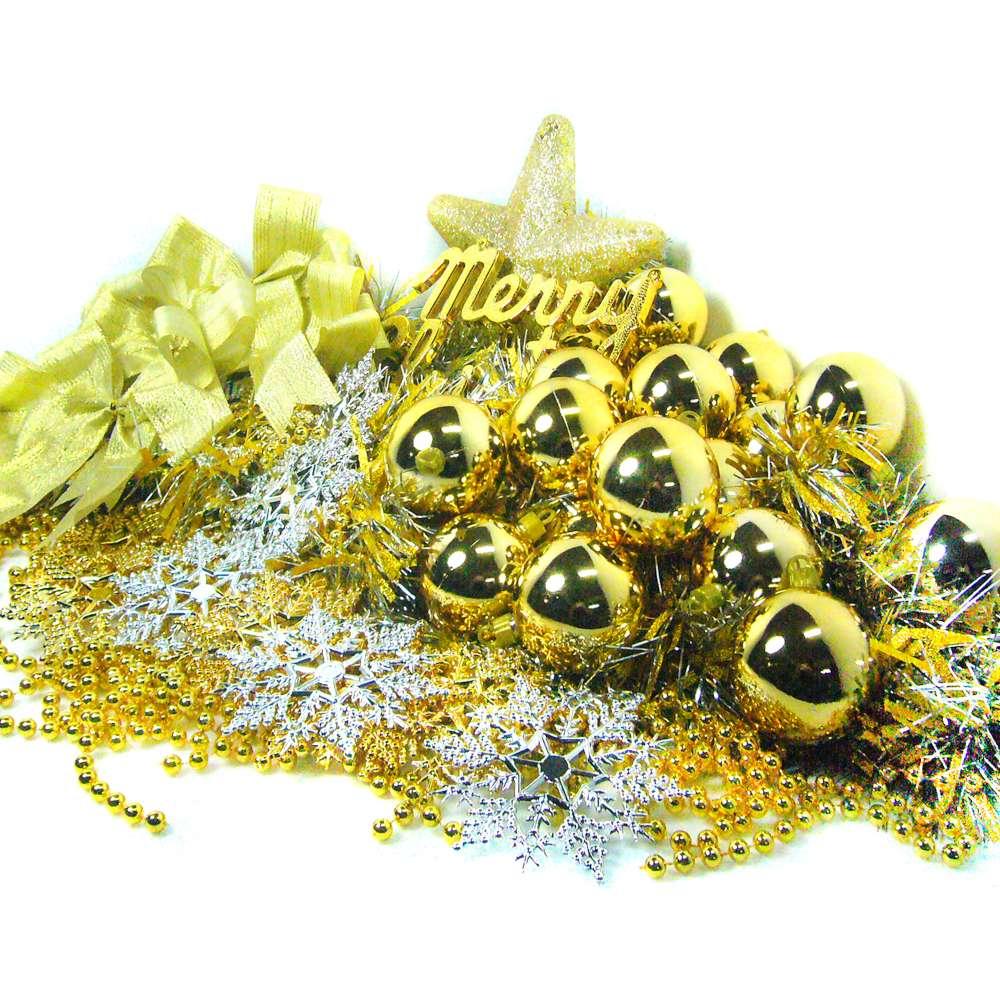 摩達客-聖誕裝飾配件包組合-金銀色系 (6尺(180cm)樹適用)(不含聖誕樹)(不含燈)