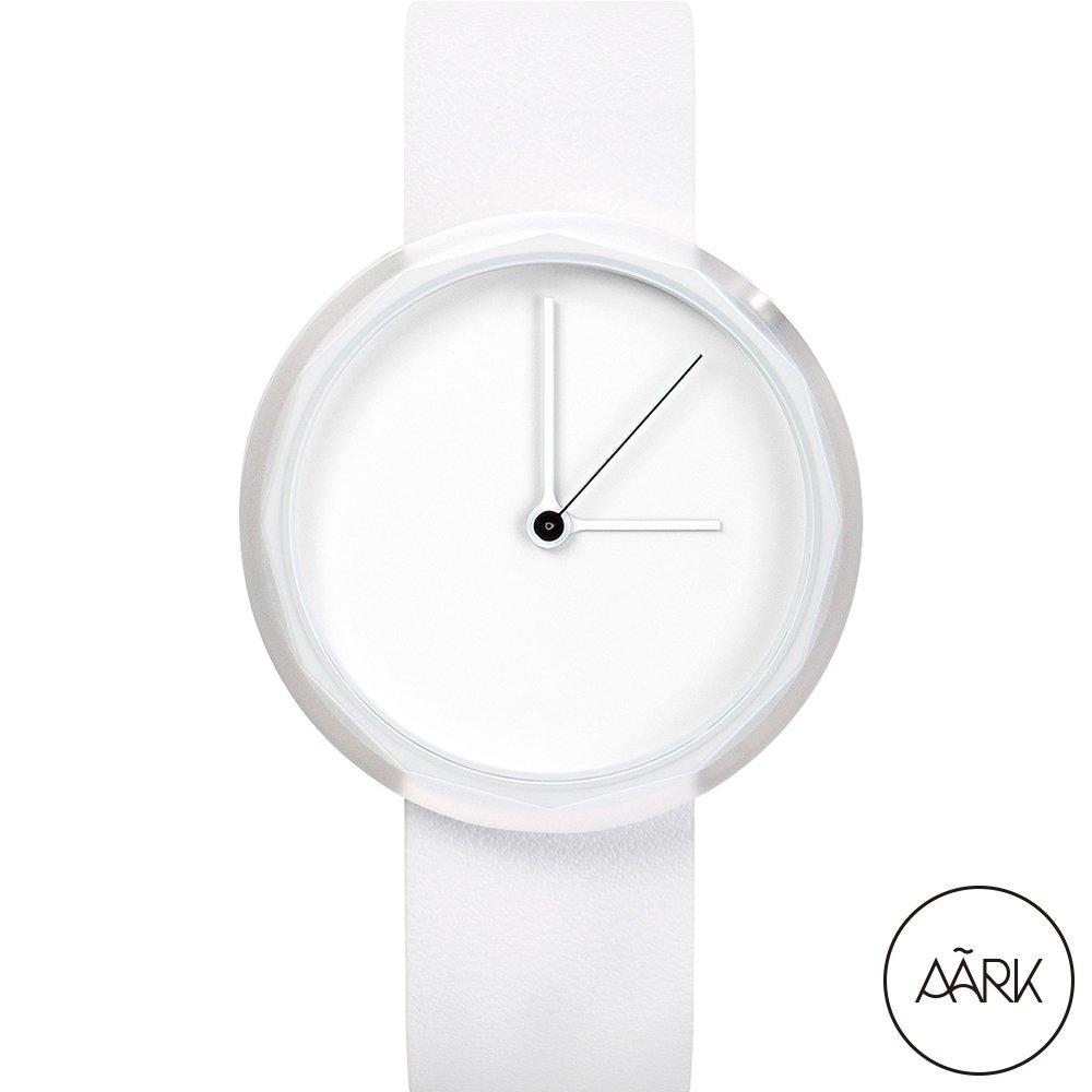 AÃRK 純白極簡主義真皮革腕錶 (白/38mm/PRISM-WHITE)