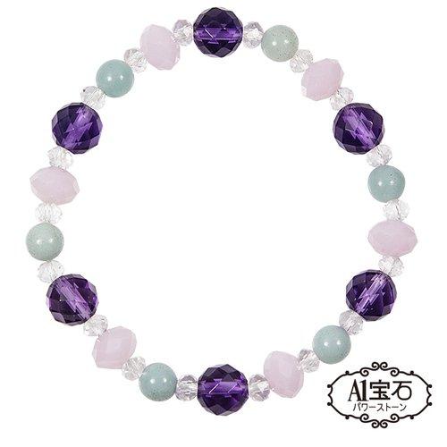 【A1寶石】頂級紫水晶白水晶粉水晶天河石手鍊-招財開運旺事業貴人運(含開光加持)