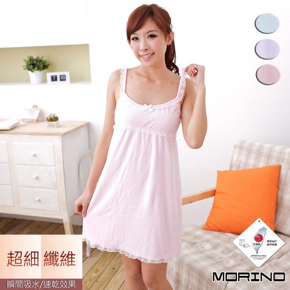 【MORINO摩力諾】超細纖維素色蕾絲浴裙