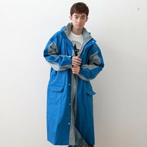 OutPerform-勁馳率性連身式風雨衣(機車雨衣 前開式雨衣)-藍/淺灰