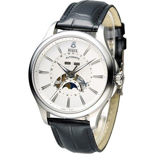 依波路 E.BOREL 公爵月相顯示機械腕錶 GS7351-28121BK 白