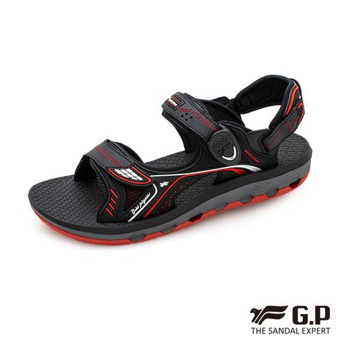 【G.P 透氣舒適磁扣兩用涼拖鞋】G9251 黑紅色 (SIZE:37-43 共三色)