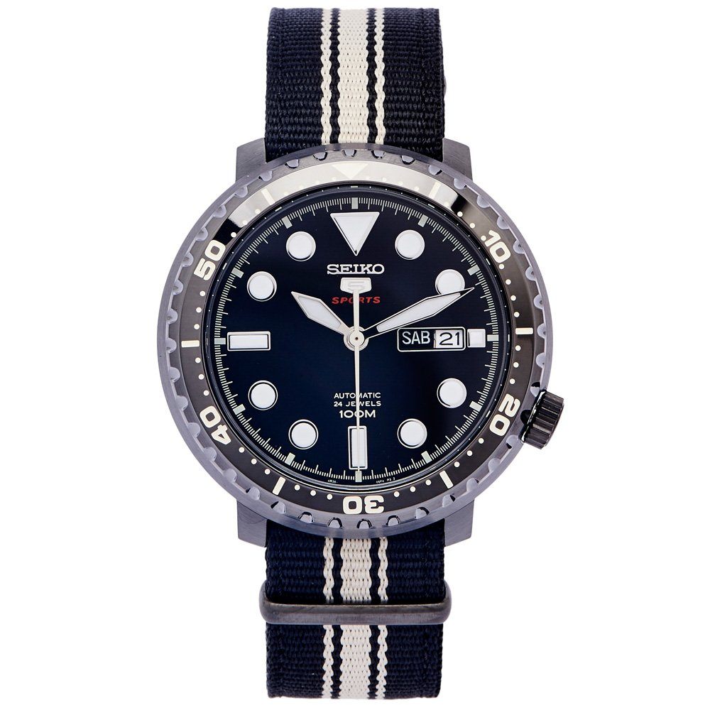 SEIKO 黑色時尚風帆布錶帶的機械錶(SRPC67K1)-黑面x黑白色/45mm