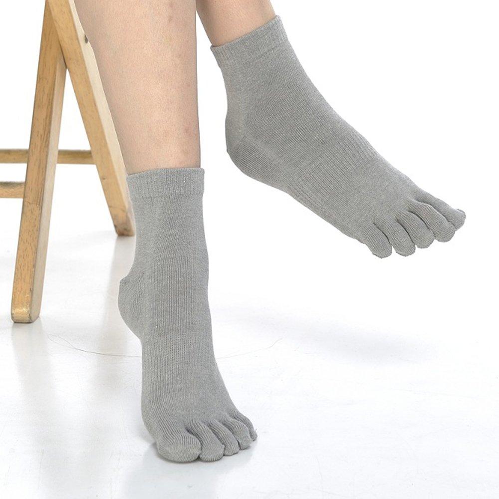 【KEROPPA】可諾帕吸濕排汗竹炭保健五趾女短襪x2雙C90009-灰色-網