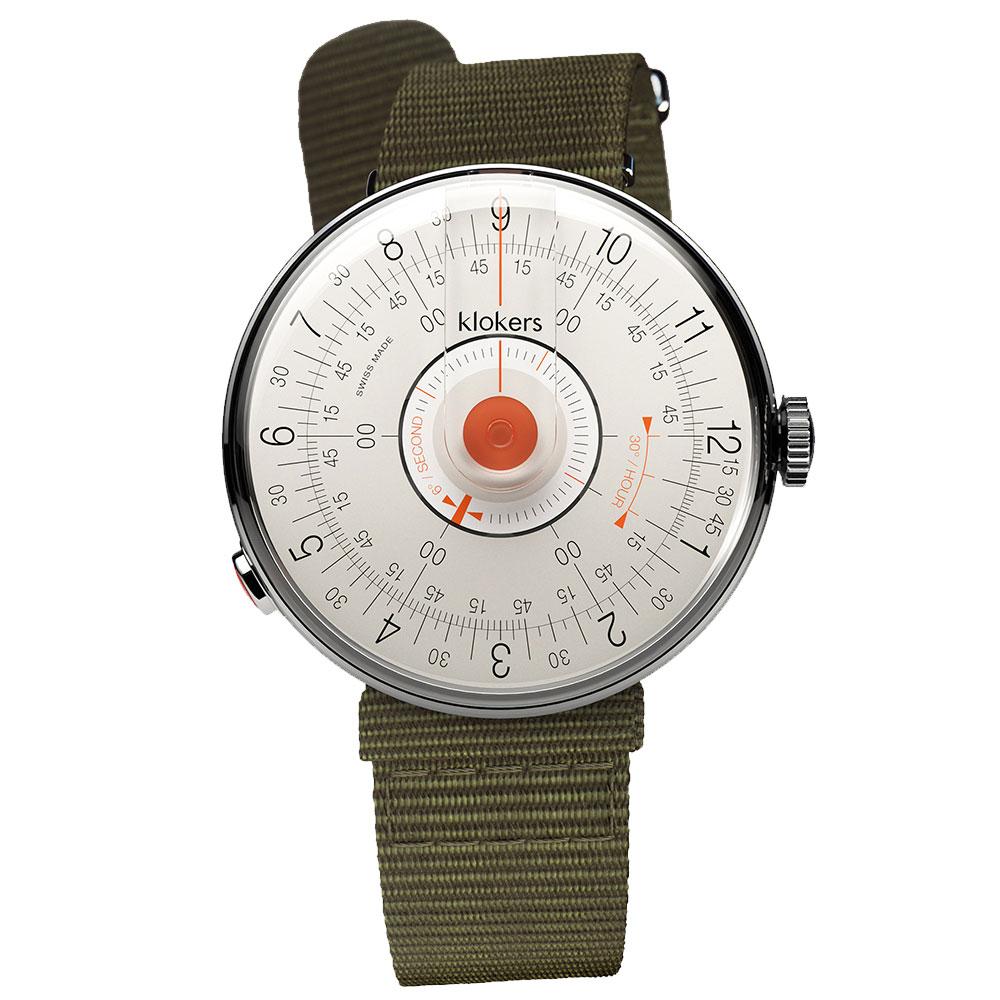 klokers【庫克錶】KLOK-08-D2 橘軸+尼龍錶帶   錶徑39mm