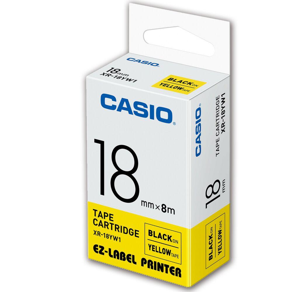 CASIO卡西歐 標籤機專用色帶-18mm【共有9色】黃底黑字XR-18YW1