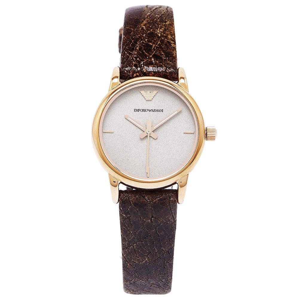 Emporio Armani  極簡懷舊風女性皮革手錶(AR1813) -豆沙色面X咖啡色/28mm