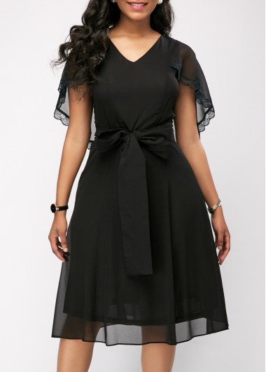 Cape Sleeve Mesh Patchwork Black Belted Dress