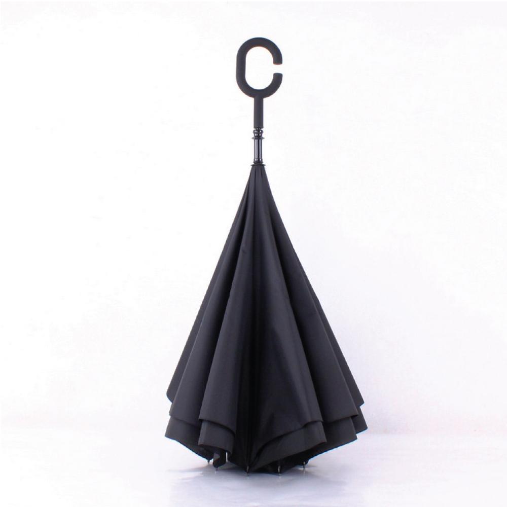 生活良品-C型雙層反向傘-黑色 (晴雨傘 反向直傘 遮陽傘 防紫外線 直立傘 長柄傘)