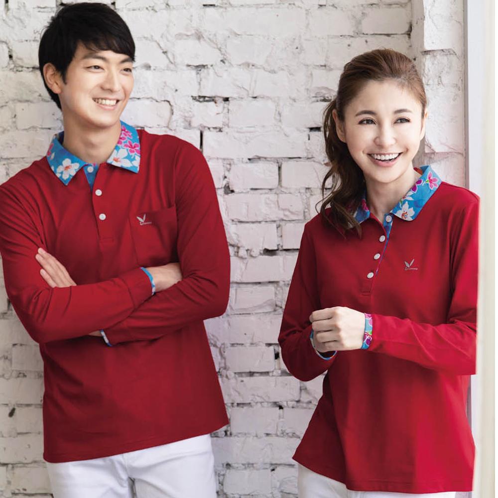 LEIDOOE 客家花休閒男版長袖POLO衫(53193紅)
