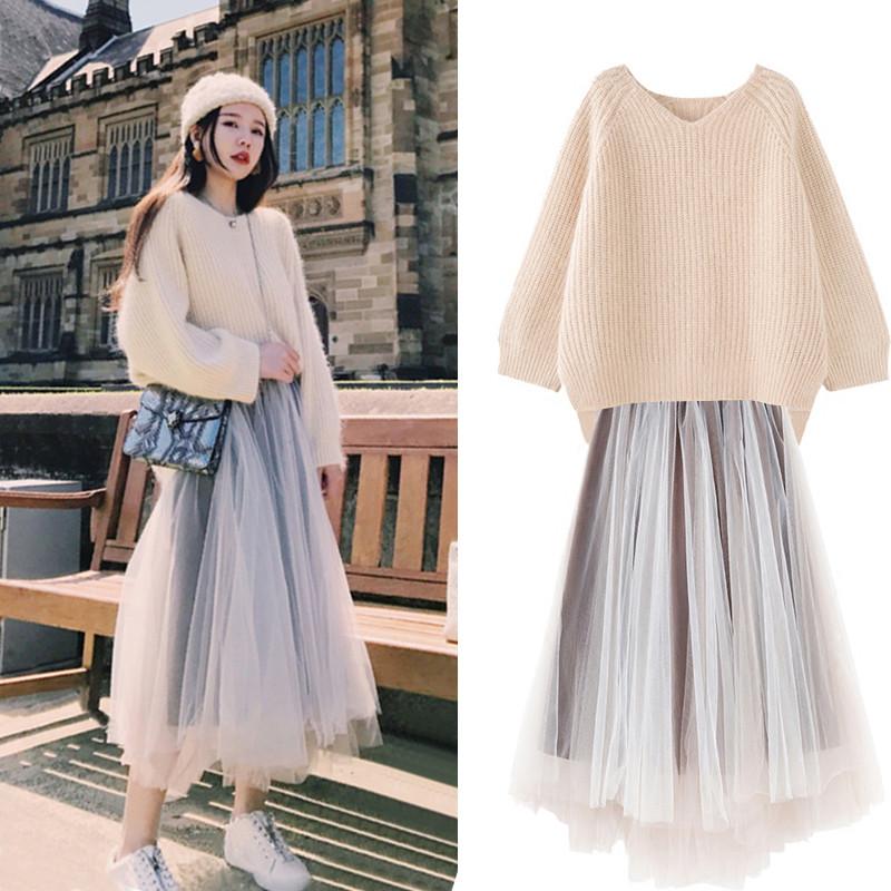 韓版氣質時尚針織衫網紗長裙兩件式套裝cntop