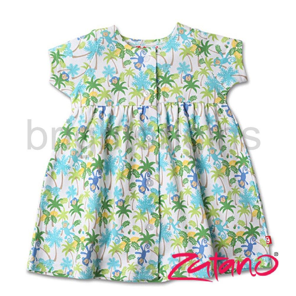 美國ZUTANO短袖開襟洋裝(寶寶款)~叢林猴子