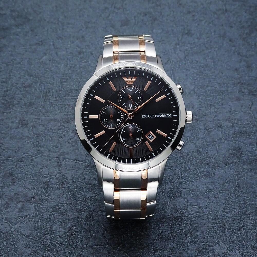 armani 上班族的時尚經典三眼計時腕錶-黑面-ar11165