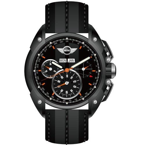 MINI Swiss Watches 競速時尚三眼計時日期腕錶(黑/45mm) MINI-06