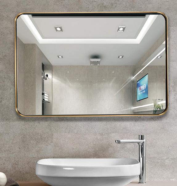 訂製 70*100cm 浴室鏡 壁掛鏡北歐不銹鋼浴室鏡子 洗手間衛生間鏡壁掛黃銅金色廁所衛浴鏡裝飾鏡