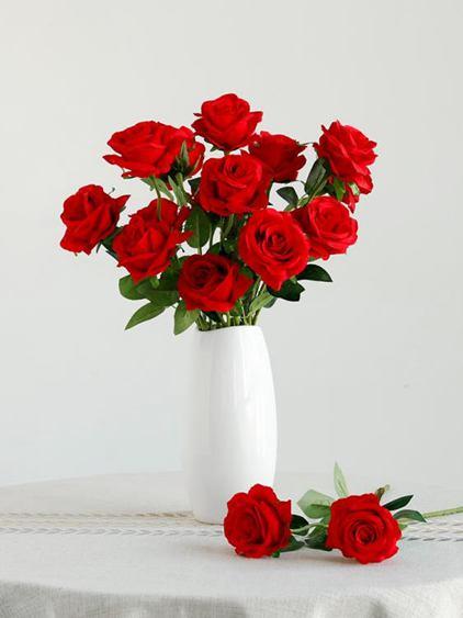 仿真花 仿真玫瑰花客廳裝飾電視柜插花擺設絹花單支塑料假花花束干花擺件全館促銷限時折扣