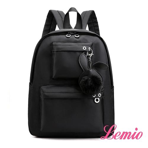 【Lemio】可愛小兔兔牛津迷你雙肩包(性格黑)