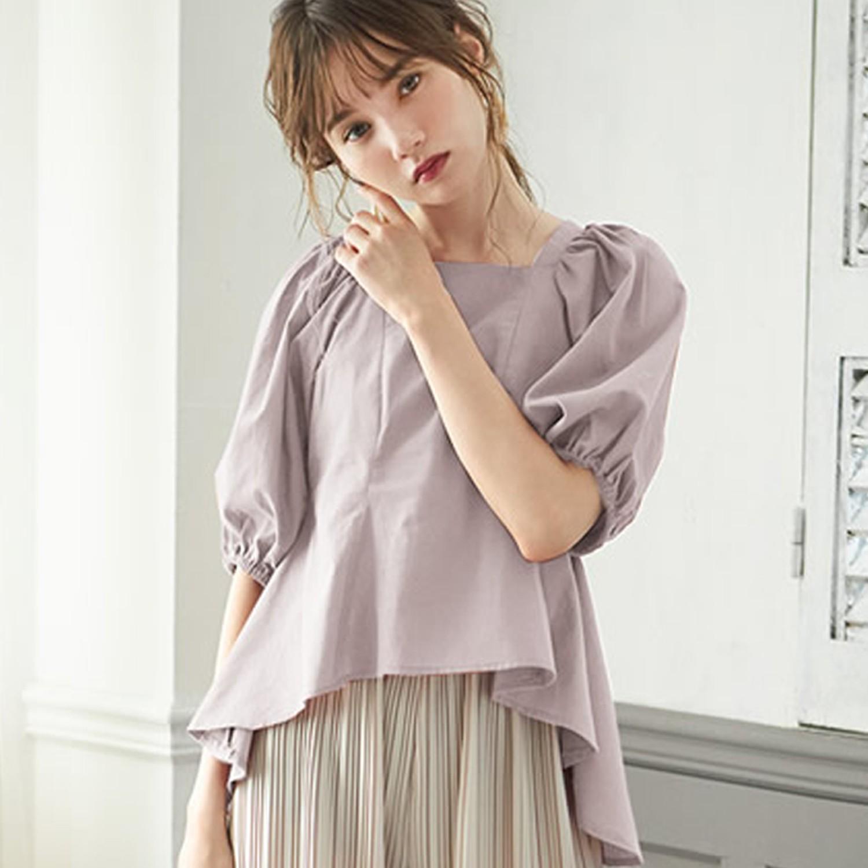 日本 GRL - 美背澎澎寬鬆五分袖上衣-淺灰杏