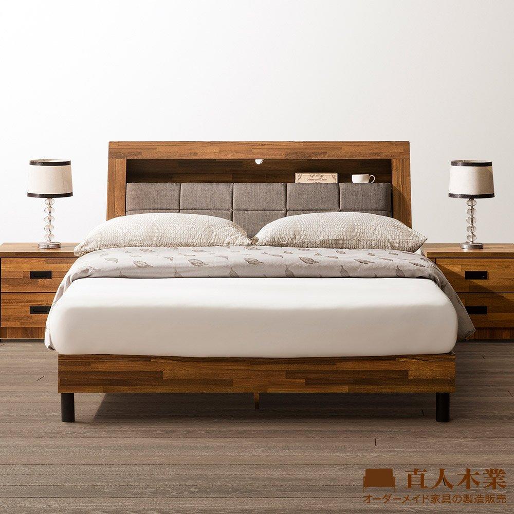 【日本直人木業】KELT積層木單層收納6尺雙人加大附插座立式全木芯板床組