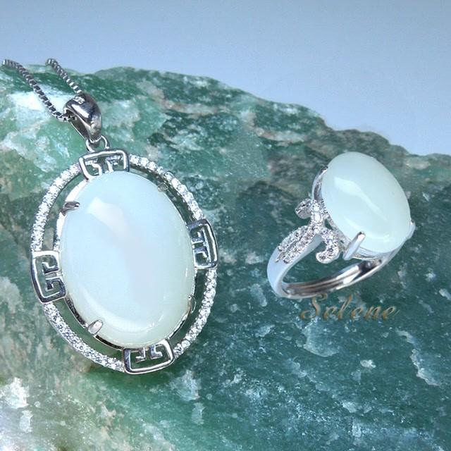 selene 珠寶高貴華麗羊脂白玉項鍊套組(限量珍藏款)
