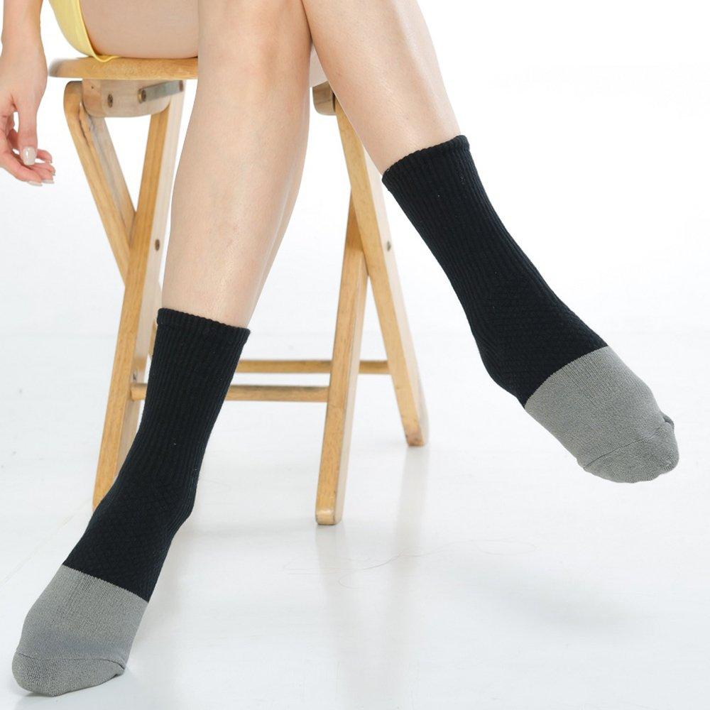 【KEROPPA】可諾帕3/4束底竹碳運動氣墊女襪x2雙C90012-黑配灰色