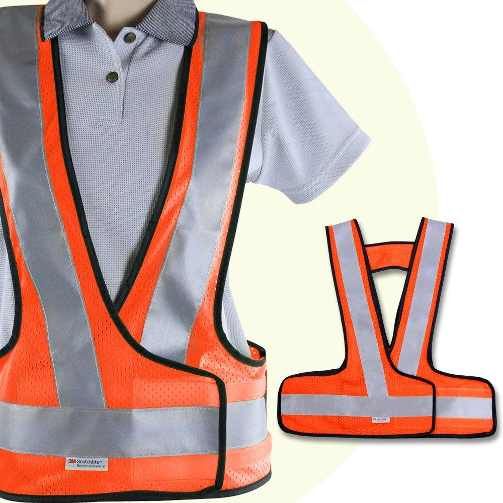 Yenzch V型網布反光背心/3M Scotchlite(螢光橘 2入) RM-10534-1