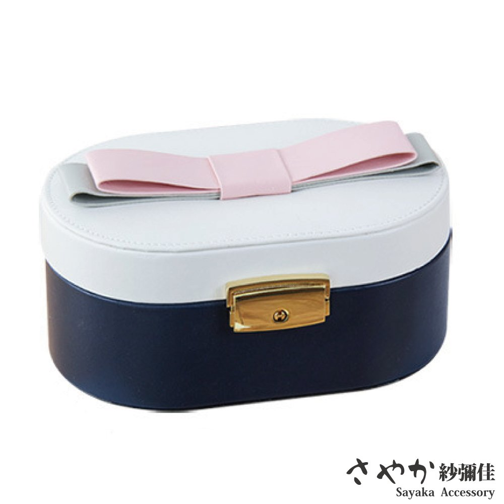 【Sayaka紗彌佳】甜美公主蝴蝶結造型飾品收納盒-緹花白